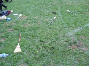 The deserted Quidditch field after the match