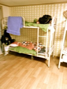 Average, no- frills hostel room