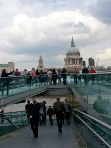 The crowd heading towards the Millennium Bridge