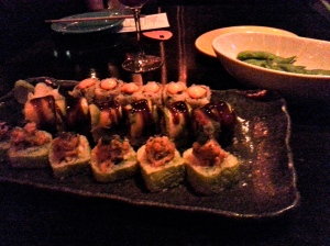 Spicy Tuna Roll, Dragon Roll (m),Salmon Roll (?), and Edamame @ Sushi Samba at the Venetian