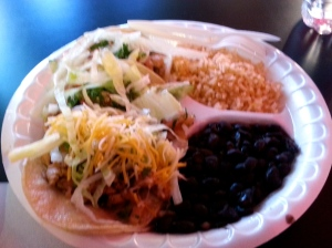 Chicken tacos at the food court on Fremont Street