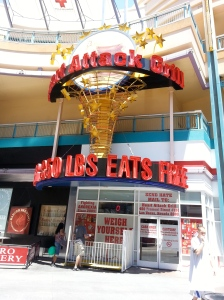 The Famous Heart Attack Grill. Free meals for anyone over 350 pounds?