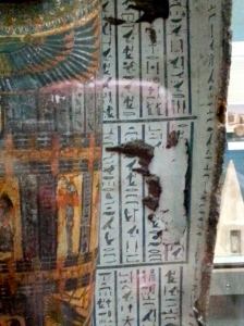 hieroglyphics inside a mummy's coffin