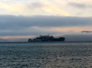 View of Alcatraz in sunset