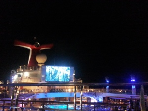 Movie on a boat Different blockbusters ( like The Fault in Our Stars, Divergent, Melicent and more) were shown ever night